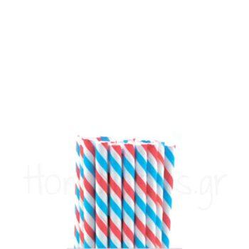 Καλαμάκι (100 Τεμ) Ριγέ Χαρτί Κόκκινο, Μπλε, Λευκό APS Bar Supp