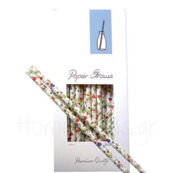 Καλαμάκι FLOWERS (100 Τεμ) Χαρτί  APS Bar Supply