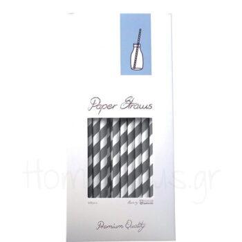 Καλαμάκι (100 Τεμ) Ριγέ Χαρτί Γκρί/Λευκό APS Bar Supply
