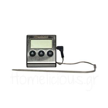 Θερμόμετρο Χρονόμετρο Ψηφιακό Με Ακίδα [0 έως +250] Inox Ασημί|H