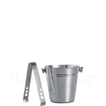 Παγοδοχείο Με Λαβίδα [Φ12 cm] Inox Ασημί|Cosy & Trendy