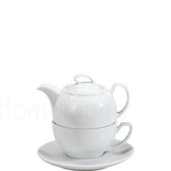 Τσαγιέρα 39 cl, Κούπα 22 cl, Πιατάκι Πορσελάνη Λευκό|Apulum