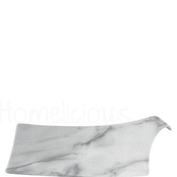 Πιατέλα MARBLE [33x21 cm] Με Λαβή Πορσελάνη Λευκό|Apulum