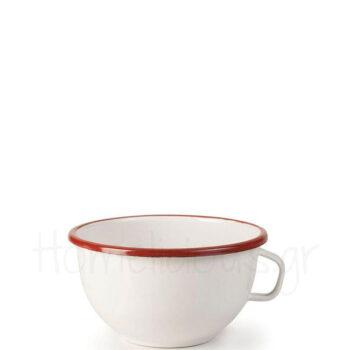 Μπολ Δημητριακών BORDEAUX Με Χερούλι [Φ14 cm] Εμαγιέ Λευκό|Ibili