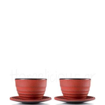 Φλιτζάνι Τσαγιού Set (2 Τεμ) 120 ml Μαντέμι Κόκκινο|Ibili