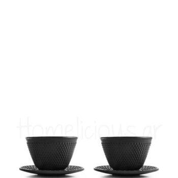Φλιτζάνι Τσαγιού Set (2 Τεμ) 120 ml Μαντέμι Μαύρο|Ibili