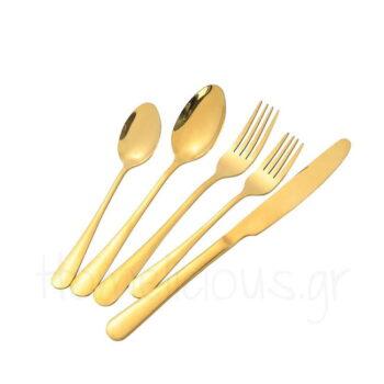 Μαχαιροπίρουνα Set NIS GOLD (24 Τεμ) Inox Χρυσαφί|Dinox