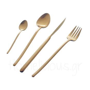 Μαχαιροπίρουνα Set STICK GOLD (72 Τεμ) Inox Χρυσαφί|Herdmar
